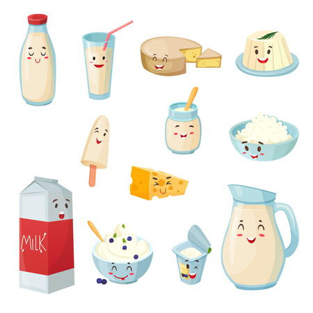 Set of milk products with smiles including cheese curd yogurt ice cream cartoon style isolated vector illustration