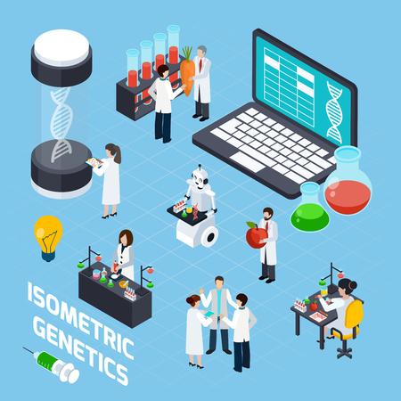 Genetica samenstelling met DNA-symbolen wetenschappers laboratorium experimenten en het imago van robot met buizen isometrische vectorillustratie gebruikt