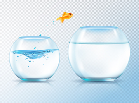 Fish jumping out bowl composition with realistic image of goldfish and two similar aquariums inflated with water vector illustration Reklamní fotografie - 79272764