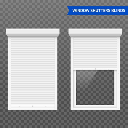 Window roller shutters set in closed and open form white on transparent background vector illustration Vetores