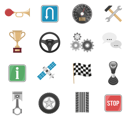 Auto set of sixteen isolated images of spare car parts traffic signs pictograms and navigation satellite vector illustration