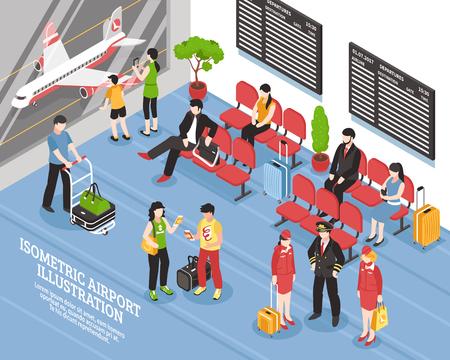 Area di attesa di partenza dell'aeroporto manifesto isometrico salotto con i passeggeri di equipaggio di volo e illustrazione vettoriale nero illustrazioni Vettoriali