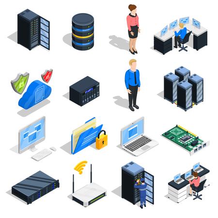 Colección de iconos isométricos de Datacenter de dieciséis equipos aislados y imágenes de equipos de cabecera con personajes humanos ilustración vectorial