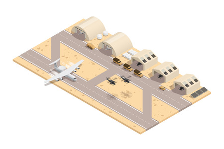 Colored military isometric composition in beige colors with runway great location for a military base vector illustration Illustration