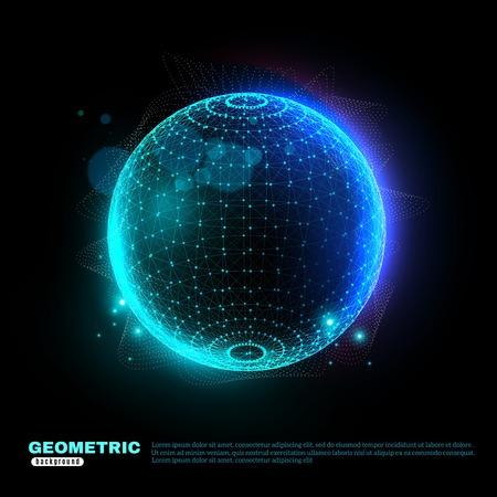 검은 배경에 파란색 청록색으로 빛나는 디지털 플로팅 구 포스터 과학 기술 장식 도형 벡터 일러스트 레이션