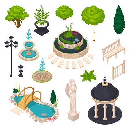 Isometric elements for city landscape constructor with bench gazebo statue streetlight flowerbed lake trees and bushes isolated vector illustration Illustration