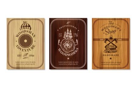 Lumberjack professional woodwork advertisement emblem labels