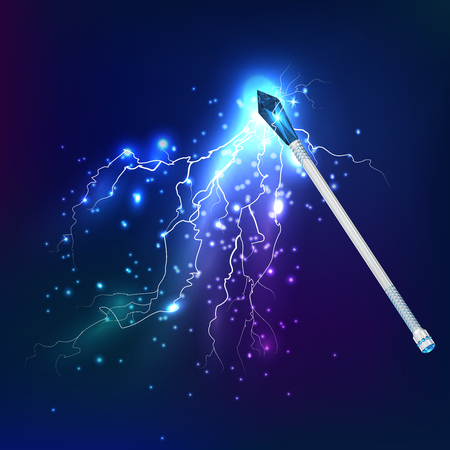 Magic wand in night sky realistic background with electric discharge and glowing effect vector illustration