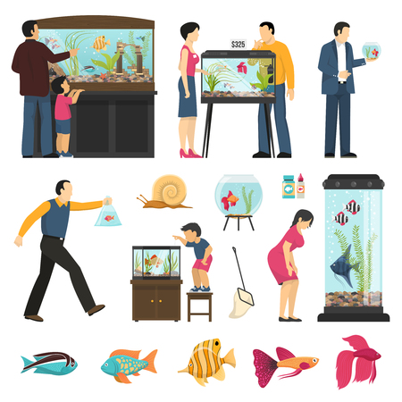 Aquarium people set of isolated human characters fish tanks of different shape and various fish species vector illustraton