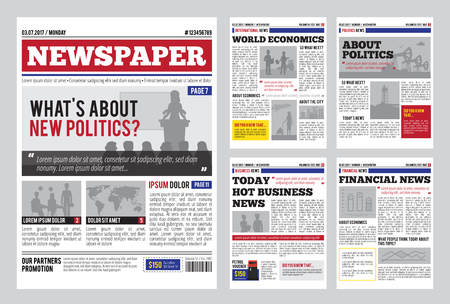 Newspaper design template with red headline, images and charts, articles and financial information, advertising vector illustration