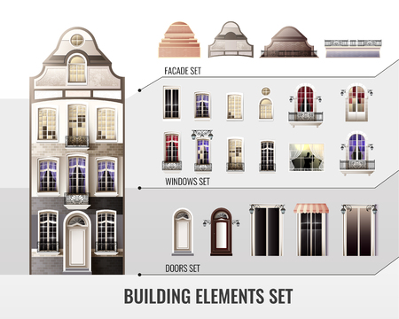 Set of european facade building elements with roofs, windows with curtains, balconies or lanterns, doors vector illustration