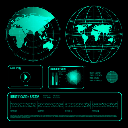 Set of glowing screen elements of search radar in blue color on black background isolated vector illustration