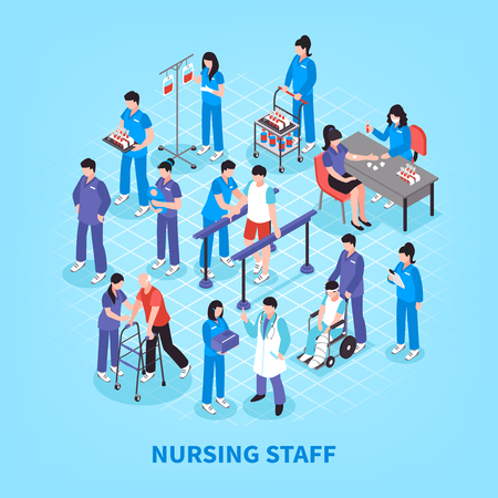 Hospital staff nurses isometric flowchart infographic poster with lab tests rehabilitation and physiotherapy exercises assistants vector illustration