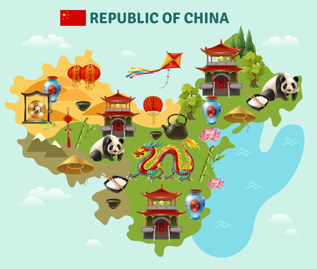 China travel sightseeing map with culture traditions national cuisine dishes and places of interest symbols vector illustration