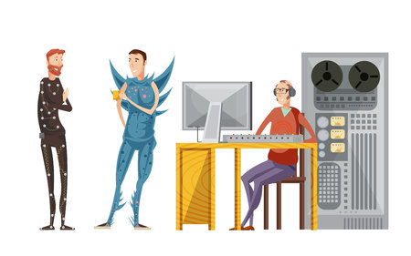 Making movie sound recording set with engineer with audio equipment and actors in costumes isolated vector illustration Stock Vector - 79270881