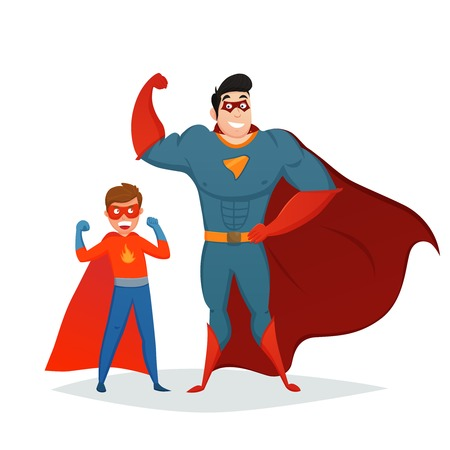 Superheroes retro composition with man and boy in blue red costumes on white background vector illustration Illustration