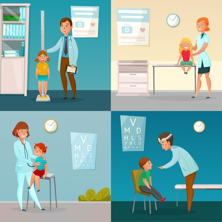 Kids visit doctors cartoon compositions with medical checkup including measuring of height and vaccination isolated vector illustration