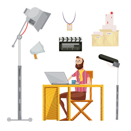 Set of film director including man with mug near laptop movie script microphone lighting isolated vector illustration