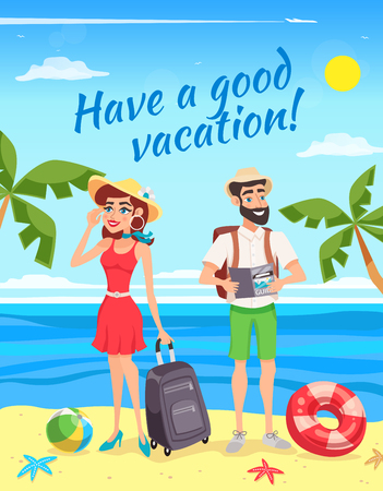 Touristes au cours de la conception de vacances d'été avec homme et femme avec des bagages sur illustration vectorielle de fond de paysage de mer Banque d'images - 79575301