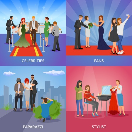 famous actor: Celebrity 2x2 design concept set of paparazzi stylists fans and vip persons flat vector illustration Illustration