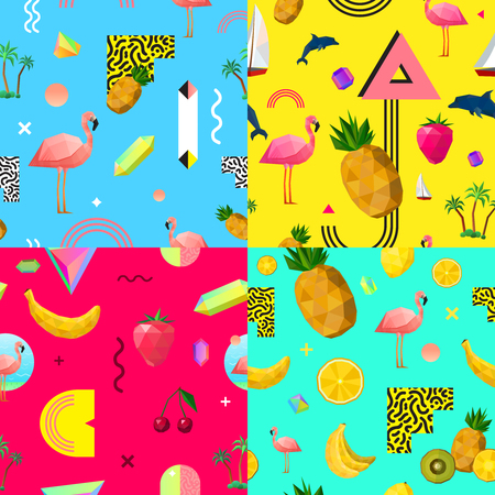 pink dolphin: Decorative seamless polygonal patterns 4 squares composition with tropical fruits pink flamingo and dolphin abstract vector illustration