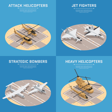 Four square isometric military air force icon set with attack helicopters jet fighters heavy helicopters and others descriptions vector illustration Illustration