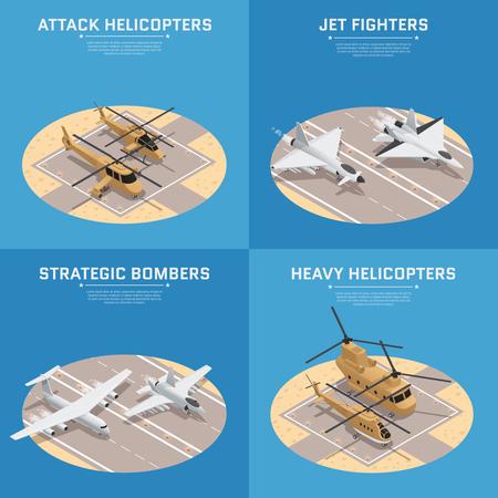Vier vierkant isometrisch militair die luchtmachtpictogram met van de aanvalshelikopters de straalvechters zware helikopters en anderen wordt geplaatst vectorillustratie