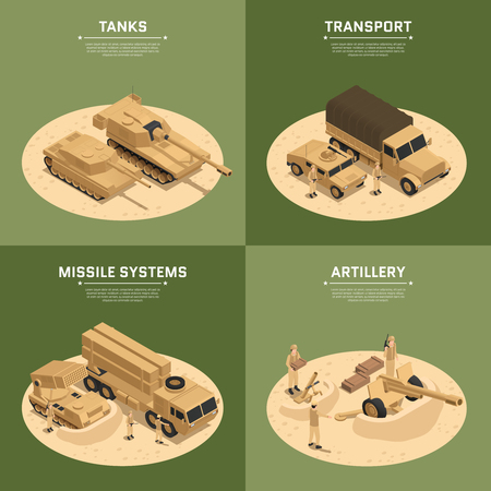 Four square military vehicles isometric icon set with tanks transport missile systems and artillery headlines vector illustration Illustration
