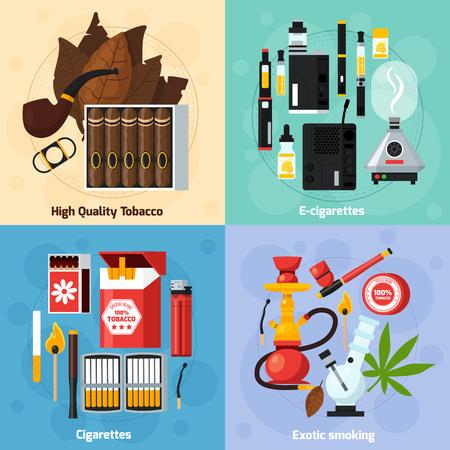 エキゾチックな通常と電子タバコの 2 x 2 のデザイン コンセプトを喫煙高品質タバスコ フラット組成ベクトル イラスト
