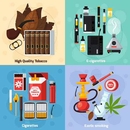 Smoking 2x2 design concept of exotic smoking usual and electronic cigarettes high quality tabasco flat compositions  vector illustration Stock Vector - 79573501