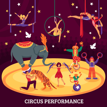 Circus performance flat composition with acrobats elephant tiger trainers and clowns at arena vector illustration Illustration