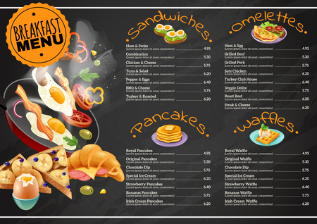 Breakfast menu on black chalkboard including omelettes sandwiches with vegetables pancakes waffles with chocolate, fruits vector illustration