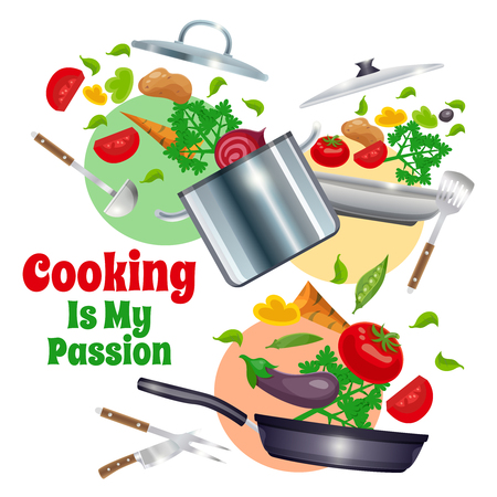 Composition with kitchenware including pans, culinary tools and vegetables on white background with colored circles vector illustration
