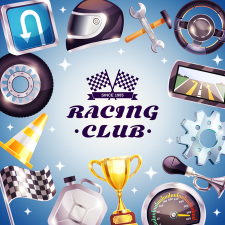 tire cover: Racing club frame with logo, car parts, helmet, canister, trophy on blue background with stars vector illustration