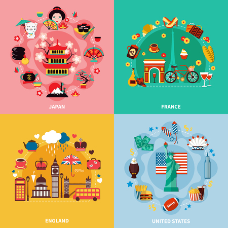 Tourism 2x2 design concept with japan france england and united states decorative compositions flat vector illustration