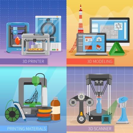 3D printen van 2 x 2 design concept met modellering scanner verbruiksartikelen en printer modificaties samenstellingen platte vectorillustratie