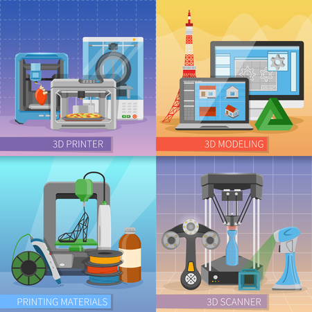 3D printing 2x2 design concept with modeling scanner consumables and printer modifications compositions flat vector illustration