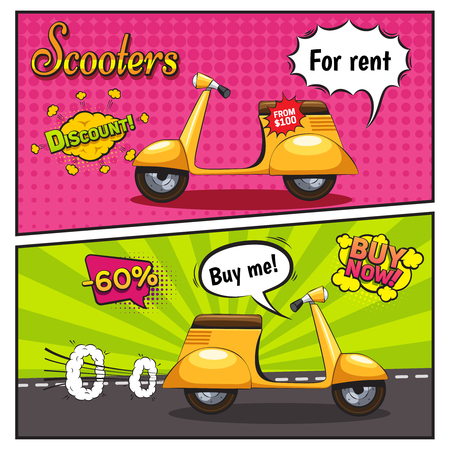 Banners in comic style with scooters for sale and rent with discount on bubbles isolated vector illustration Çizim