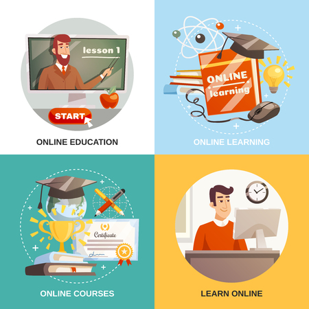 Online learning 2x2 design concept with equipment and tutorials for distance education certificate and magistracy hat flat vector illustration
