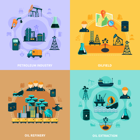 Oil industry design concept with round compositions of petroleum production and operating equipment icons and silhouettes vector illustration