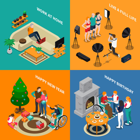 Disabled people isometric compositions with work at home, family seasonable holidays. Illustration