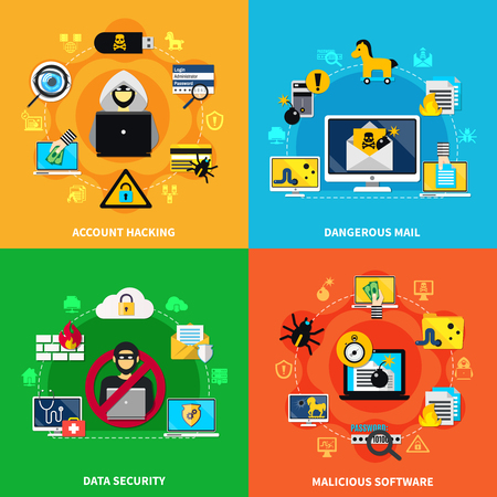 Data security 2x2 design concept set of dangerous mail malicious software and account hacking flat compositions vector illustration Ilustração