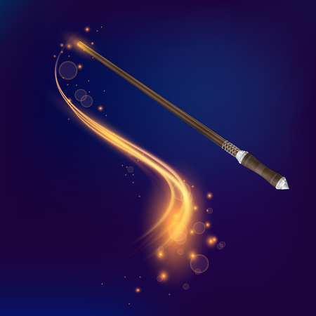 gemstone: Magic wand realistic composition on dark blue background with gold plume and stains vector illustration Illustration