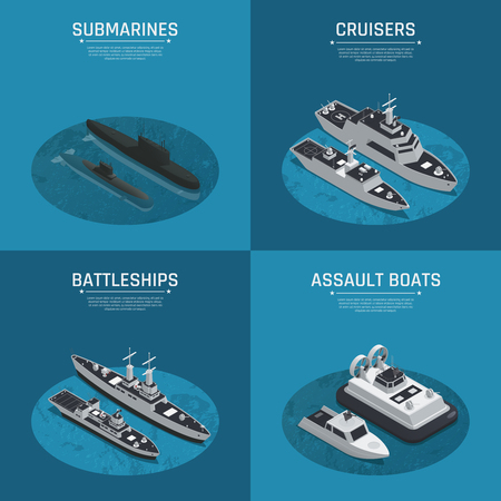 Four square military boats isometric icon set with submarines cruises battleships and assault boats descriptions vector illustration
