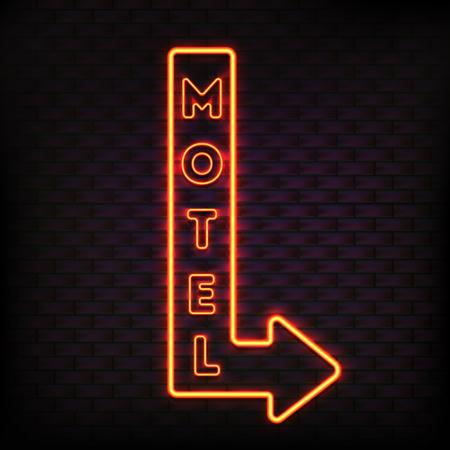ネオンサインは点滅モーテル矢印板蓄光ボタンで設定、オレンジのライト電気文字ベクトル イラスト。  イラスト・ベクター素材