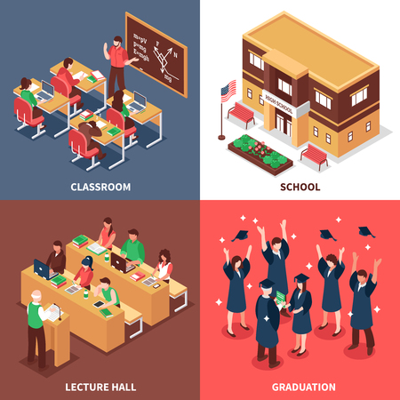 school classroom: High school classroom lesson lecture graduation and  building outdoor isometric view 4 icons square isolated vector illustration