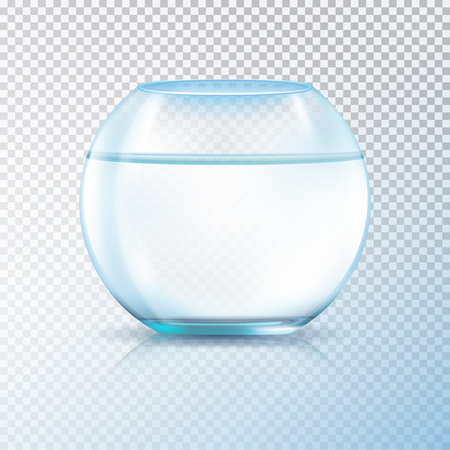 Round walls glass tank fish bowl aquarium filled with clear water realistic image transparent background vector illustration. Illustration