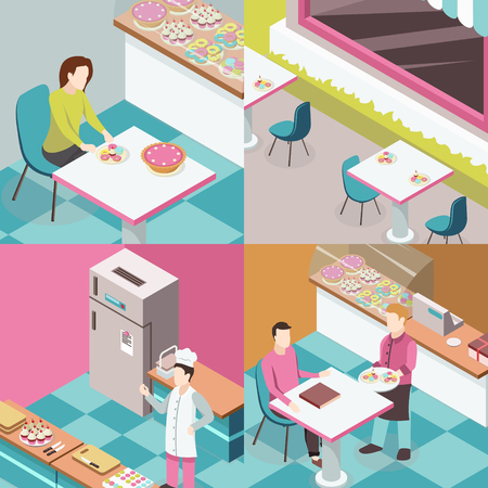 Sweet shop isometric design concept with chef at kitchen, tables outdoor, waiter and consumers isolated vector illustration.
