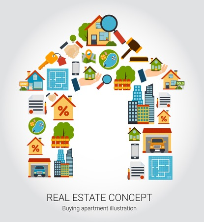 Real estate concept with house and purchase symbols flat vector illustration. Illustration