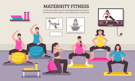 Maternity group fitness class flat poster with aerobic muscles and balance exercises for pregnant women vector illustration.